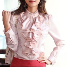 Stylish Stand Collar Flouncing Embellished Long Sleeve Blouse For Women
