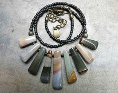Blue Green Jasper Necklace, rustic Bohemian tribal style succor creek jasper statement necklace with graduated stone fan