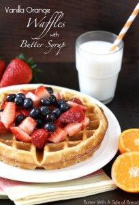 Vanilla Orange Waffles with Butter Syrup.Butter With A Side of Bread