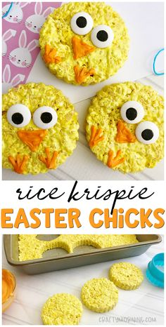 Make some cute rice krispie easter chicks for a Easter treat idea! Kids easter dessert idea. Easy to make and the kids can help. Spring time treat.