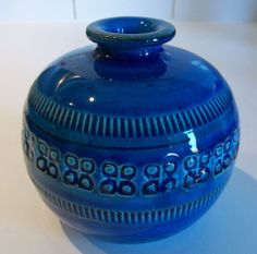 Bitossi  Aldo Londi Potter Rimini Blue blu vase round ball