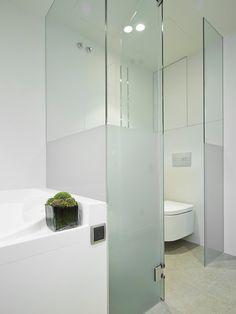 Cabina del inodoro con paredes de cristal