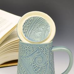 Lidded Teacup Mug by Creativewithclay on Etsy, $52.00
