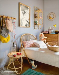 eclectic kids' rooms.  I love this shade of blue!