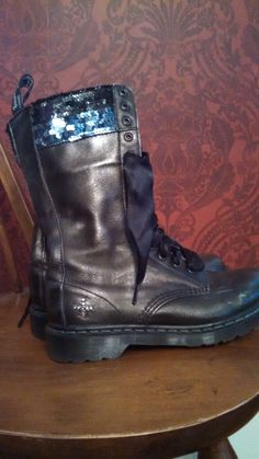 4fead6afd1b Details about RARE Vintage Sequined Dr. Martens Boots