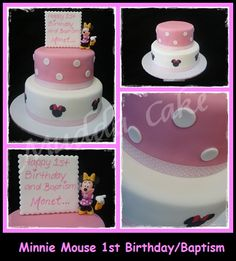 Minnie Mouse Inspired Baptism 1st Birthday Cake