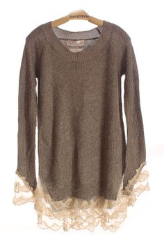 Grey Lace Cuffs sweater