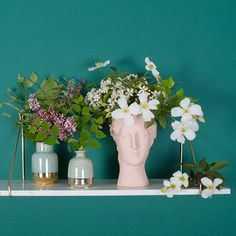 This blush Hygiea vase portrays Hygiea the Greek goddess of health, cleanliness and hygiene in a soft blush pink with a chalky finish. Place a jam jar inside and fill her with an abundance of greenery for a delightful talking point.