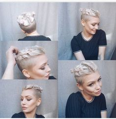 Well, one of the most trendy haircuts this year is the pixie haircut. Undercut Long Hair, Undercut Hairstyles, Pixie Hairstyles, Pixie Haircut, Girls Shaved Hairstyles, Short Human Hair Wigs, Short Hair Cuts, Short Pixie, Pixie Braids