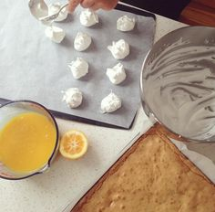 Lemon Meringue Madness - Top Blondie with lemon curd, home made meringue and a scoop of ice cream - YUM!
