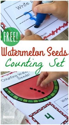 FREE Counting Watermelon Seeds Math Activity for preschool, prek, kindergarten, first grade. This is super cute and perfect for summer learning or back to school math center. Practice with numbers 1-10, count to 10, and writing numbers.