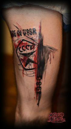 Trash Polka tattoo on leg by Yurec Udalec Leg Tattoos, Tatoos, Tattoo Photo, Watercolor Tattoo, Tattoo Designs, Mens Fashion, Portrait, Style, Tatuajes