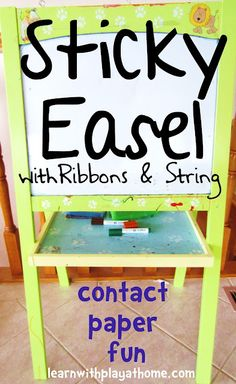 Sticky Easel: Ribbons and String. Fine motor, manipulation, early literacy, creativity, patterns, colours and more...