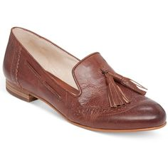 Vince Camuto Chayton Oxford Flats ($97) ❤ liked on Polyvore featuring shoes, oxfords, rich cognac, vince camuto flats, flat heel shoes, flat shoes, vince camuto footwear and vince camuto