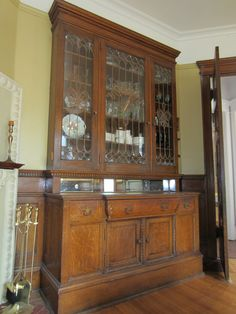 Another beautiful built-in buffet in a Victorian-era home built in 1900 in the Old Highland neighborhood of North Minneapolis I sold in October, Victorian Kitchen, Victorian Era, Built In Buffet, Kitchen Buffet, Highland Homes, Grand Homes, Built In Cabinets, Fireplace Mantle, China Cabinet