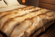 Golden Island Fox Fur Blanket in tones of natural Gold brown white color, Grey Fox, Fur Accessories, Fur Blanket, Stay In Bed, Fur Throw, Vintage Fur, King Beds, Fox Fur, Luxury Bedding