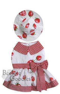 Adorable Strawberry Sundress with Matching Hat for Small Dogs - S - http://www.thepuppy.org/adorable-strawberry-sundress-with-matching-hat-for-small-dogs-s/