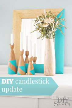 Such a pretty color combo!  DIY candlestick update at diyshowoff.com #DIY #thriftstore
