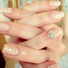 Nude Diamante and Pearl Nails