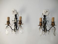 ~c 1920 French White Rose Crystal Prisms Bronze Vintage Sconces Gorgeous! French Chandelier, Lamp Shades, Candelabra, White Roses, Candle Sconces, Chandeliers, Lamps, Wall Lights, Bronze