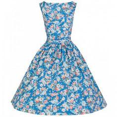 Lindy Pop Floral Sky Blue Spring Garden Audrey Dress