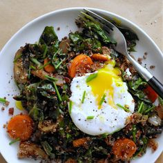 Red Quinoa Bowl with Swiss Chard and Poached Egg