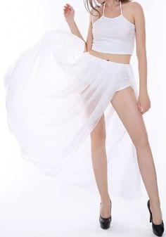 d686e3bfafb2ba White 2 Pieces Sleeveless Halter Crop Top High Waisted High Slit Sheer  Thigh Split Maxi Dress