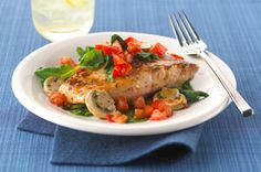 Baked Salmon with Tomatoes, Spinach & Mushrooms - 210 calories or 5 points