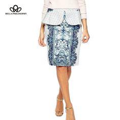 spring summer new women's blue and white porcelain print vintage flounced ruffles skirt