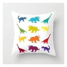 Dinosaur Throw Pillow Rainbow Dinosaur Parade Throw Pillow Jurassic... ($22) ❤ liked on Polyvore featuring home, home decor, throw pillows, black, decorative pillows, home & living, home décor and black home decor