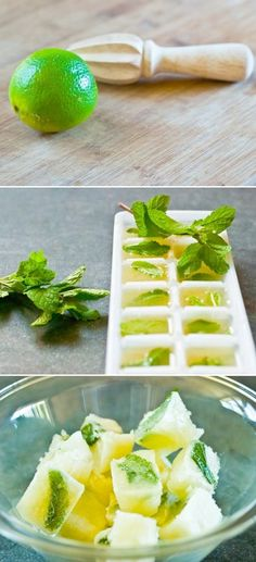 Mint & Lime Juice Cubes.   Could also do it with lemon juice to go in iced tea - genius!
