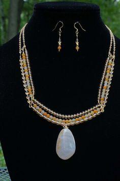 Milk Quartz, Citrine, Yellow Jade Necklace Set - $220