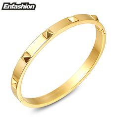 Enfashion Pyramid Spikes Bracelet Manchette Gold Bangle Stainless Steel Bracelet For Women Cuff Bracelets Bangles Pulseiras