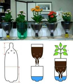 Pot de fleurs à arrosage automatique 3 Related posts:When to plant your vegetable garden. When to plant what? Plastic Bottle Crafts, Plastic Bottles, Recycled Bottles, Wine Bottles, Garden Crafts, Garden Projects, Greenhouse Vegetables, Pot Jardin, Decoration Plante