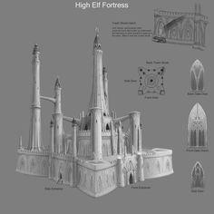 elf artstation fortress fantasy sven elven minecraft elves bybee houses medieval artwork village dnd