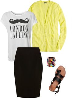 dressing down pencil skirt with a funky tshirt and bright cardigan
