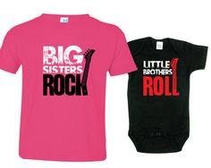 Big Sister Little Brother Shirts set of 2, Sibling T-shirt or Creeper, Big Sisters Rock, Little Brothers Roll