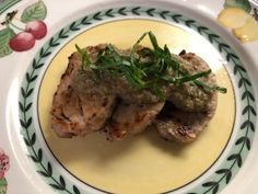 Pork filet with Japanese eggplant sauce with ohba leaves.