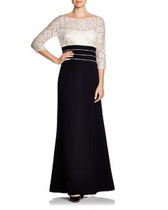 fa3875ec9cf Kay Unger Three-Quarter Sleeve Lace Gown Women - Bloomingdale s