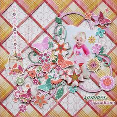 Summer Breeze Layout by Trudi Harrison for Kaisercraft Cut sections from plaid paper