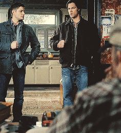 The only time Dean won at rock paper scissors. Their faces are great.