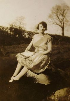 1920's Photograph of a Woman Sat on a Wooden Fence by LoosLoft, $3.25