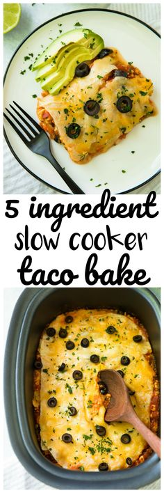 Healthy, easy 5 Ingredient Slow Cooker Taco Bake from Just set it and forget it for a cheesy, protein-packed meal the whole family will love! Slow Cooker Tacos, Best Slow Cooker, Crock Pot Slow Cooker, Crock Pot Cooking, Pressure Cooker Recipes, Mexican Food Recipes, Dinner Recipes, Crockpot Recipes, Cooking Recipes