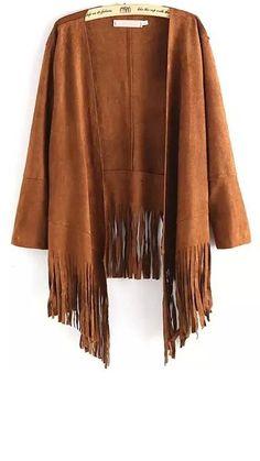 Long sleeve tassel coat