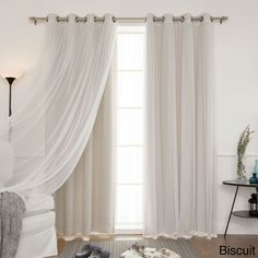 Aurora Home MIX & Match Curtains Blackout and Tulle Lace Sheer 84-inch Bronze Grommets Curtain Panel Pair (4-piece) (