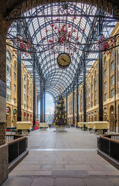 A Christmas Tree brings a festive cheer to Hay's Galleria in London. Hay's Galleria is a mixed use building in the London Borough of Southwark situated on the south bank of the River Thames including offices, restaurants, shops and flats. Originally a warehouse and associated wharf (Hay's Wharf) for the port of London, it was redeveloped in the 1980s. It is a Grade II listed structure. - Jon & Tina Reid