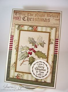 Altered store bought Christmas card, Justrite sentiment