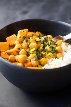 A quick and easy, soy-free, gluten-free, Thai Vegan Sweet Potato and Chickpea Curry for a meatless Monday full of flavor and nutrition!