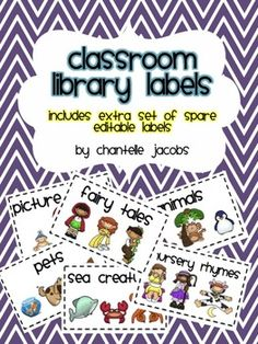 These+colourful+labels+will+brighten+up+your+classroom+library+and+assist+your+students+in+keeping+it+neat+and+organised.  There+are+28+labels+including+**spare+editable+labels**+so+that+you+can+personalise+them+to+suit+your+classroom+library+needs.  This+pack+includes+labels+for…