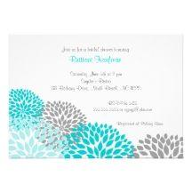 Turquoise & Grey wedding Invites